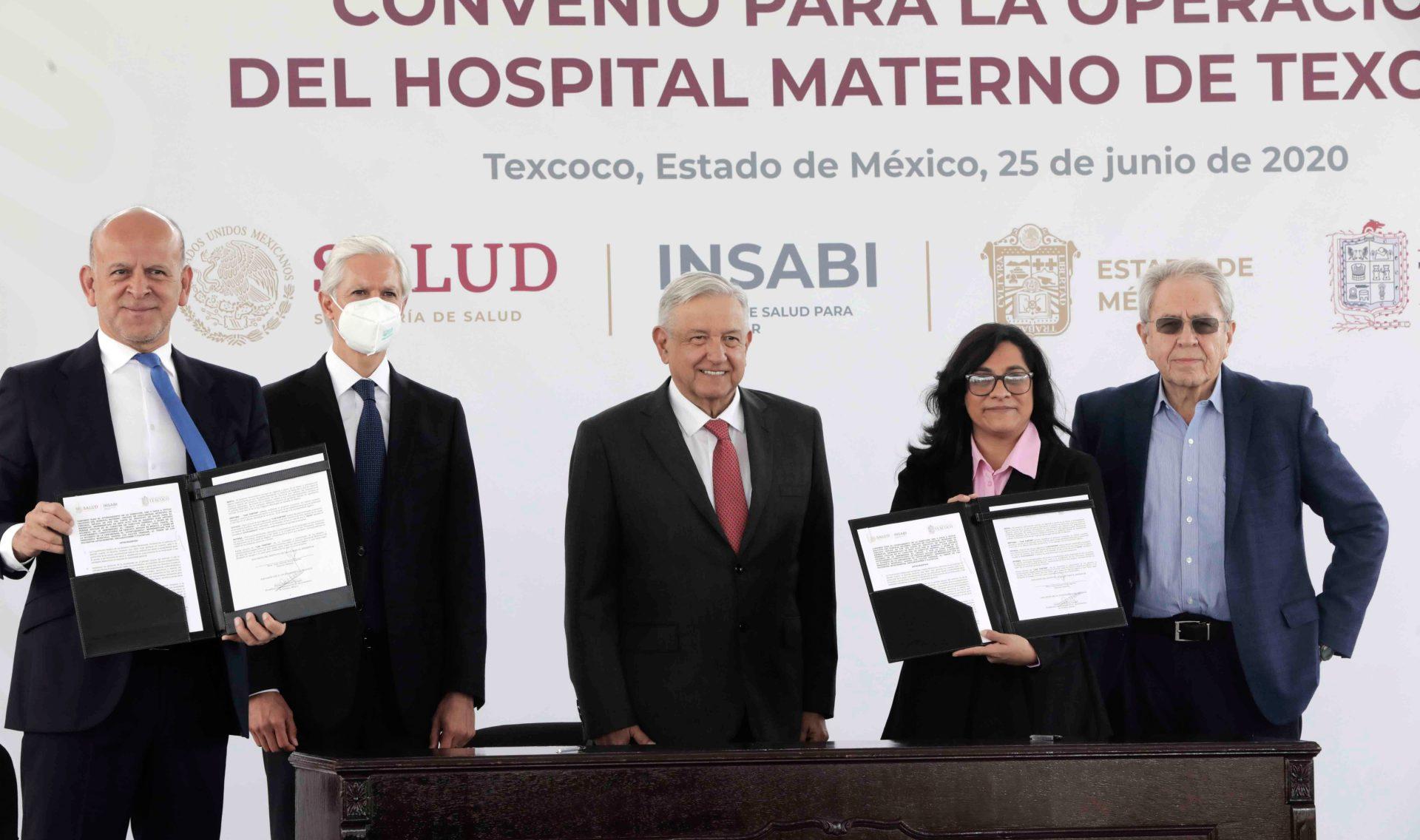 TEXCOCO, ESTADO DE MÉXICO, 25JUNIO2020.- Andrés Manuel López Obrador, Presidente de México en la firma del Convenio para la operación del Hospital Materno de Texcoco. FOTO: PRESIDENCIA/CUARTOSCURO.COM
